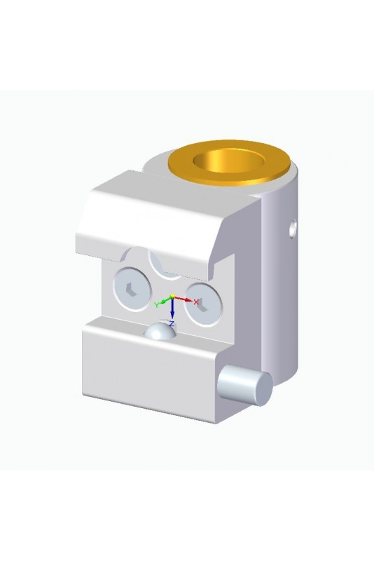Slide clamp half model, locked with one-ball claps with fixing device and brass bush Ø20 mm hole, JB 147-03-20
