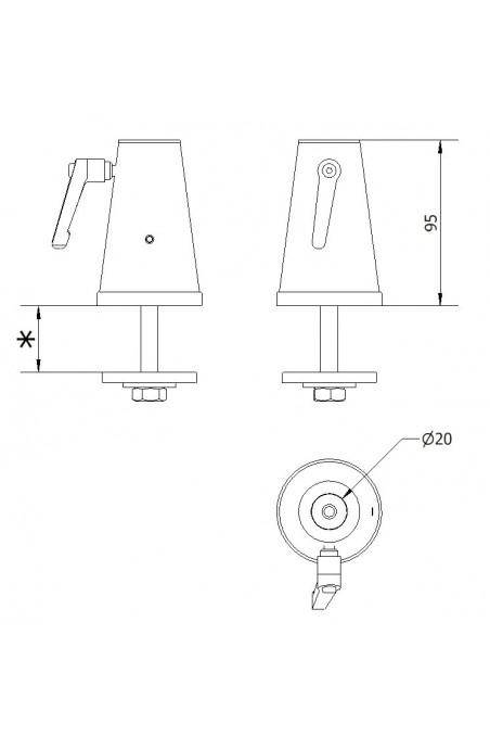 Rundholder bordbeslag, rustfast stål for Ø20 mm aksel, JB 91-00-00, af JB Medico
