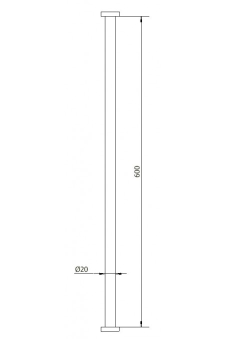 Column tube, Stainless Steel, Ø20 x 600 mm, JB 29-00-00 by JB Medico