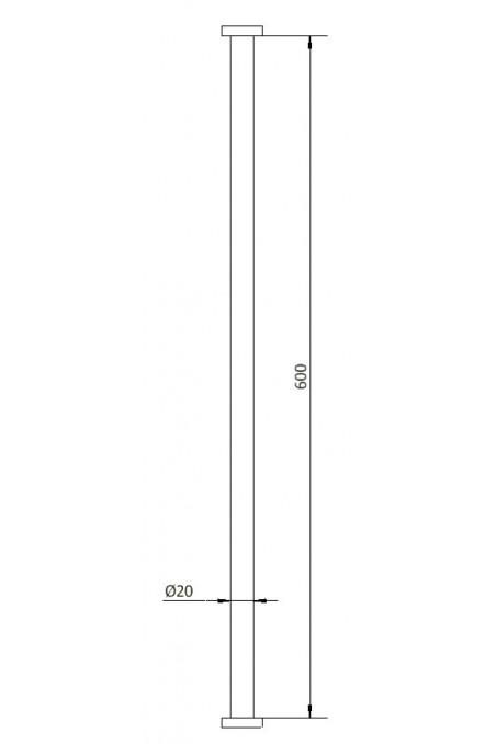 Søjlerør, rustfast stål Ø20 X 600 mm, JB 29-00-00 af JB Medico