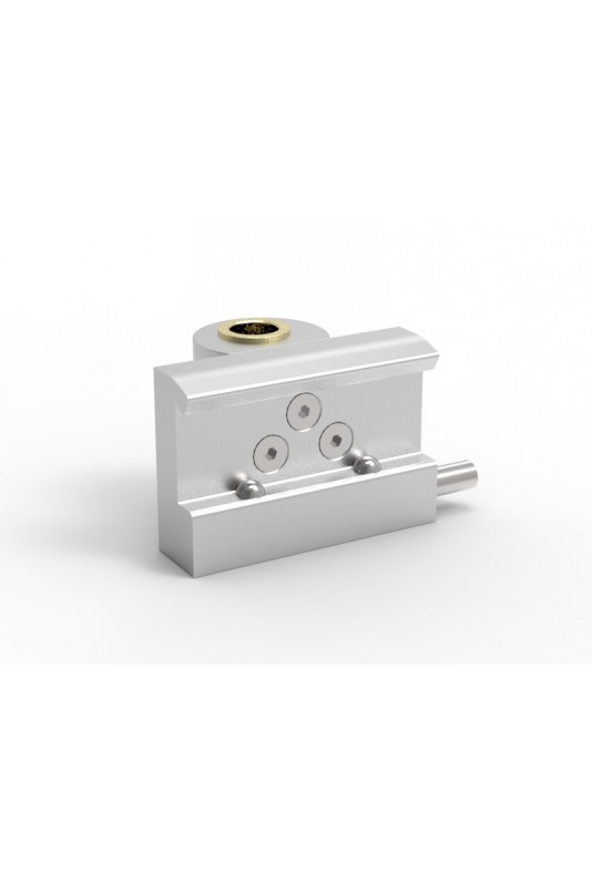 Rail Clamp, wide model with two-ball clasp with fixing device and brass bush, Ø20mm hole