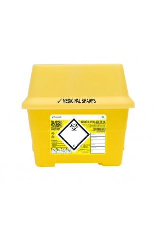 Sharpsafe Container, yellow, 2 LITRE, JB 20-03-98-02, by JB Medico