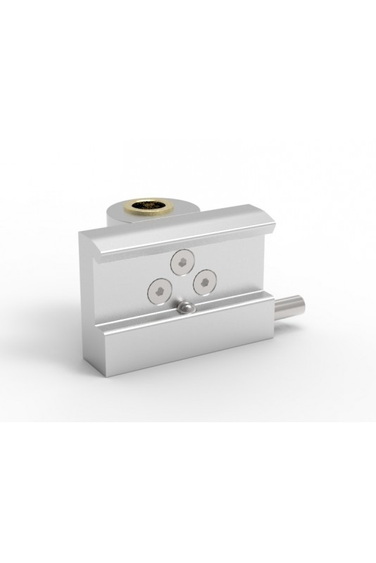 Rail Clamp, wide model with one-ball clasp with Fixing device and brass bush, Ø20mm hole