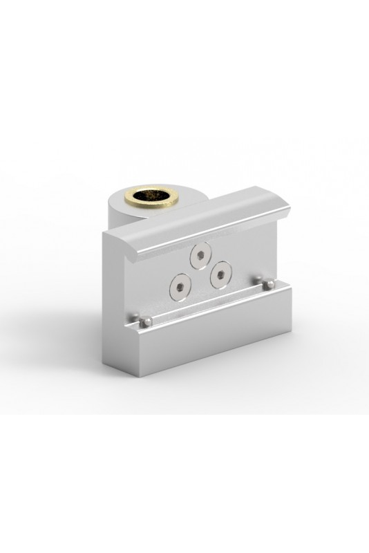 Rail Clamp, wide model, locked using two socket screws With Fixing device and brass bush, Ø20mm hole