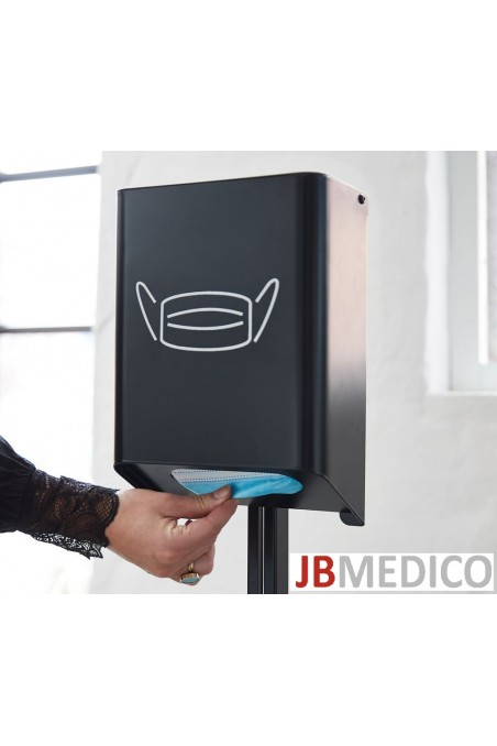 Hygiene stand black with associated hand alcohol holder 1,265 mm high, JB 12-65-00 by JB Medico