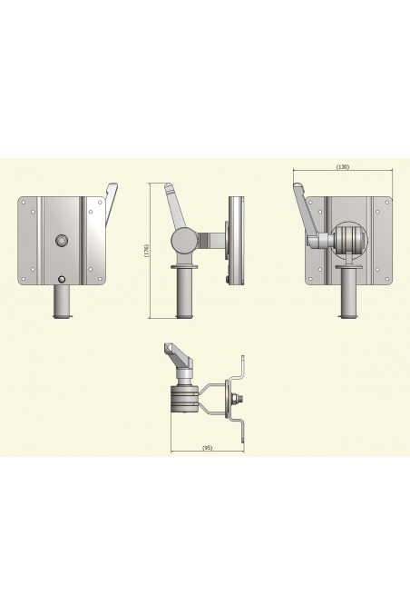 Monitor Bracket, Ø20mm, Stainless Steel, VESA 100X100mm / 75X75mm. JB 27-00-00, by JB Medico