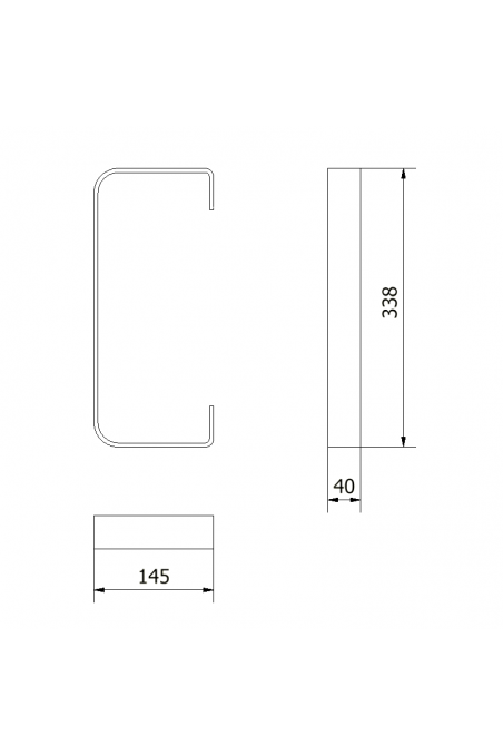 Bracket for protection of medical equipment rails. JB 180-02-02