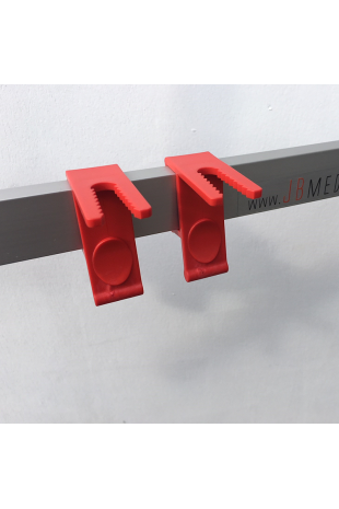 Tubing holder for 10x25mm EU DIN bedside rails. JB 600-10-25