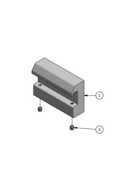 Rail Clamp, wide model, locked using two socket screws. JB 143-00-00