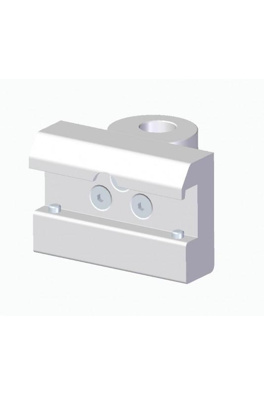 Kulisseklo, bred model, låses med to pinolskruer, adapterbeslag Ø18mm