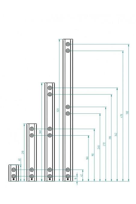 Vægbeslag med T-spor for 3 handskekasseholdere, JB 47-00-03