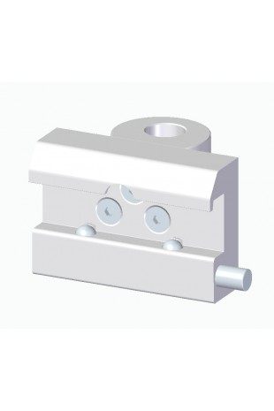 Slide clamp, wide model with two-ball clasp with fixing device, Ø18mm hole. JB 144-03-18