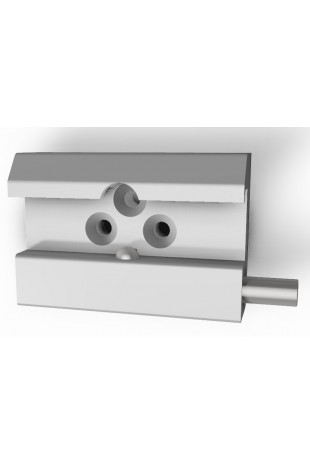 Slide clamp, wide model with one ball clasp and three pcs. countersunk Ø6,6mm holes. JB 145-03-00