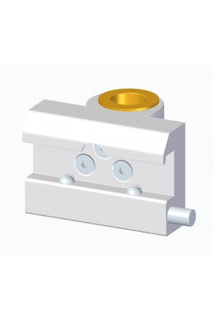 Slide clamp, wide model with two-ball clasp with fixing device and brass bush, Ø20 mm hole, JB 144-03-20