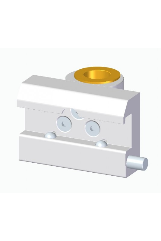 Slide clamp, wide model with two-ball clasp with fixing device and brass bush, Ø20 mm hole
